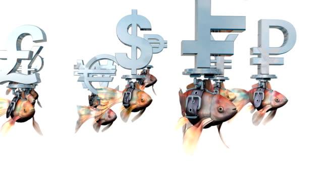 loopable, goldfishes redovisade valutasymboler från hela världen. - pound sterling isolated bildbanksvideor och videomaterial från bakom kulisserna