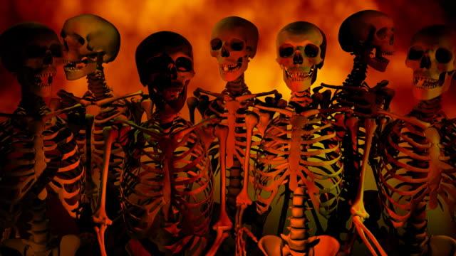 loopable, halloween inferno scheletri - inferno video stock e b–roll