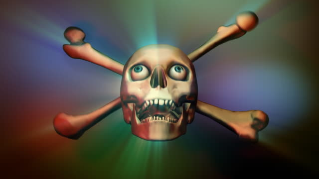 Loopable, Halloween, Skull and Crossbones with Rays video