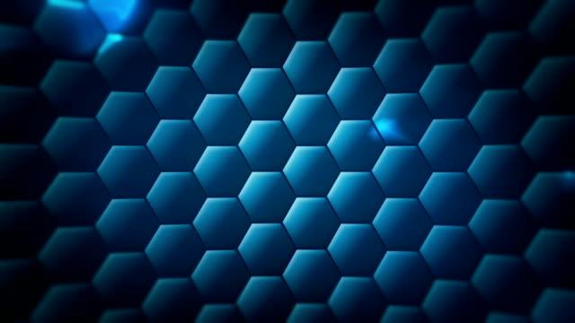 tecnologia sfondo loopable esagonale - esagono video stock e b–roll