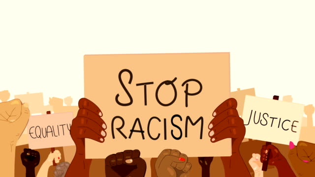 Loopable illustrated anti-racism crowd, protesting hands and protest signs animation