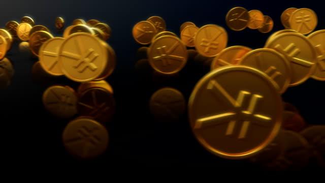 stockvideo's en b-roll-footage met loopable japanese yen coins rolling with alpha channel - yenteken