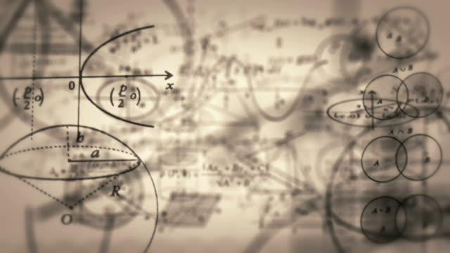 loopable math symboler resa flyger genom kameran. - fysik bildbanksvideor och videomaterial från bakom kulisserna