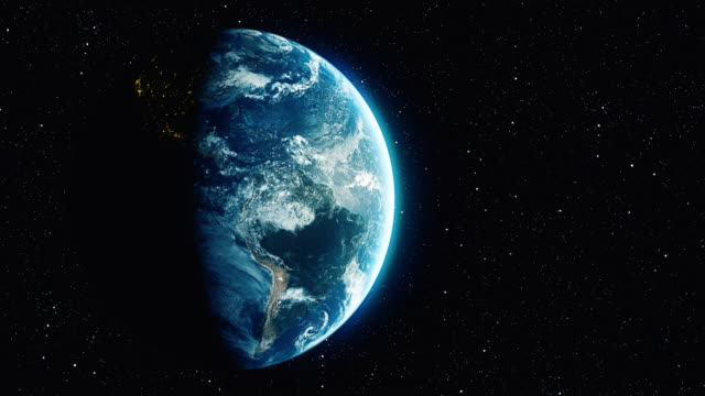 vídeos de stock, filmes e b-roll de loopable rotação do planeta terra com fundo estrela - virando