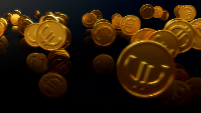 Loopable Rolling Euro Coins with Alpha Channel video