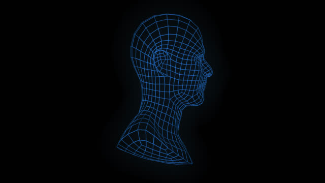 loopable rotierende mesh-mann-gesicht - menschlicher kopf stock-videos und b-roll-filmmaterial