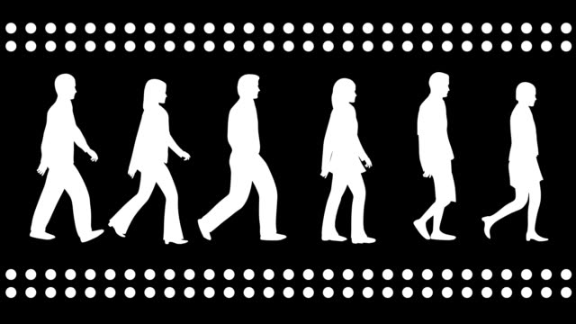 Loopable silhouettes of 3 men and 3 women walking. video