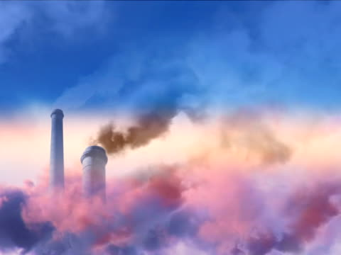 NTSC, loopable: Smoke stacks (right side copy space, composition) video