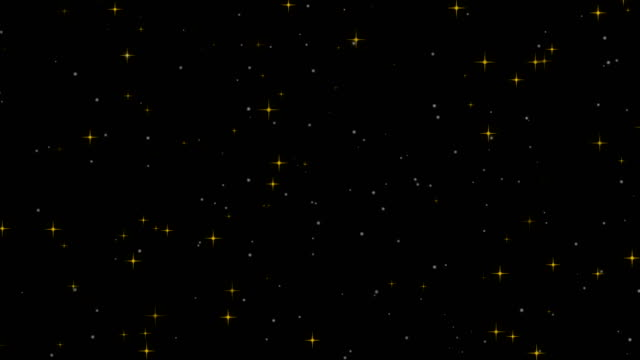 Loopable sparkling yellow star particles background 4k video