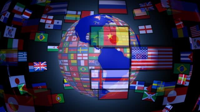 loopable, filatura terra con bandiere del mondo - bandiera nazionale video stock e b–roll