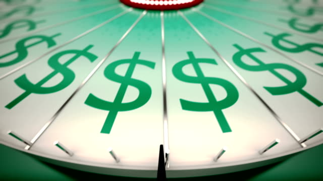 Loopable spinning wheel of fortune with dollars. video