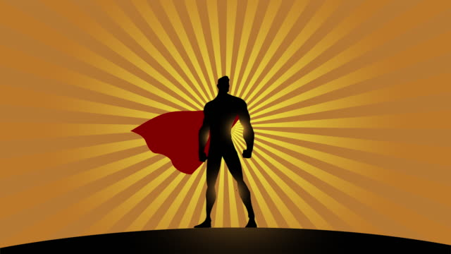 Loopable Superhero Silhouette with Waving Cape Animation Video