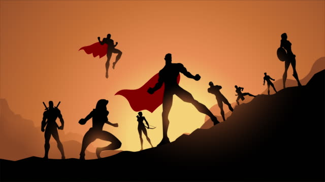 loopable superhelden team silhouette animation video - held stock-videos und b-roll-filmmaterial