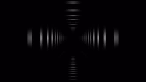 vídeos de stock e filmes b-roll de loopable tunnel hall. abstract geometry. - escuro