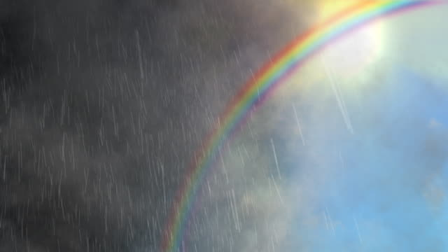 Loopable weather background - half-rain, half-sunny, with rainbow. video