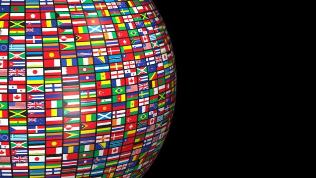 loopable, bandiere del mondo (canale alfa - bandiera nazionale video stock e b–roll
