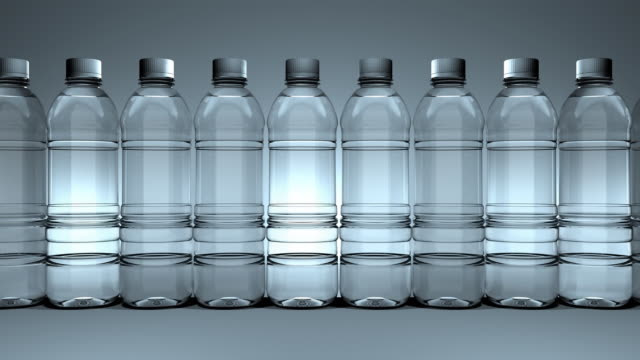 Loopable,Water bottles slowly moving from right to left video