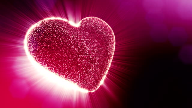 Looped 3d animation of glow particles form 3d red heart with depth of field and bokeh. For valentines day or wedding background as seamless background with space for text and light rays. V2 video
