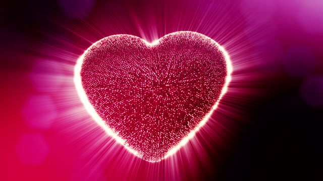 Looped 3d animation of glow particles form 3d red heart with depth of field and bokeh. For valentines day or wedding background as seamless background with space for text and light rays. V9 video