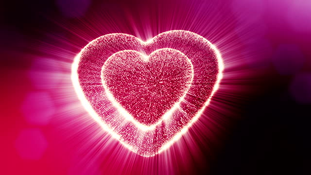 Looped 3d animation of glow particles form 3d red heart with depth of field and bokeh. For valentines day or wedding background as seamless background with space for text and light rays. V12 video