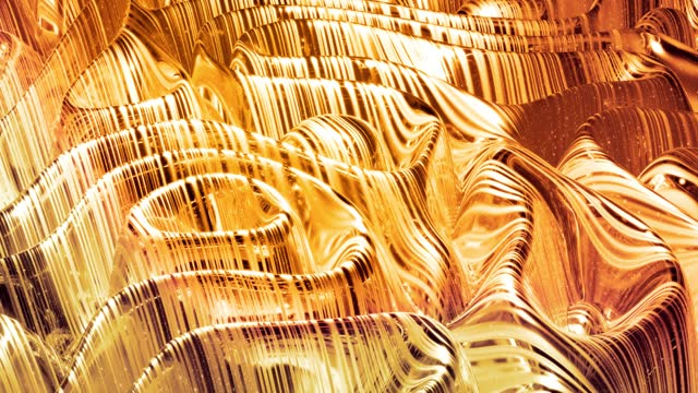 Looped abstract background with wavy sparkling golden liquid pattern on shiny glossy surface. Viscous yellow fluid like surface of gold foil or brilliant glass. Beautiful creative festive backdrop. video