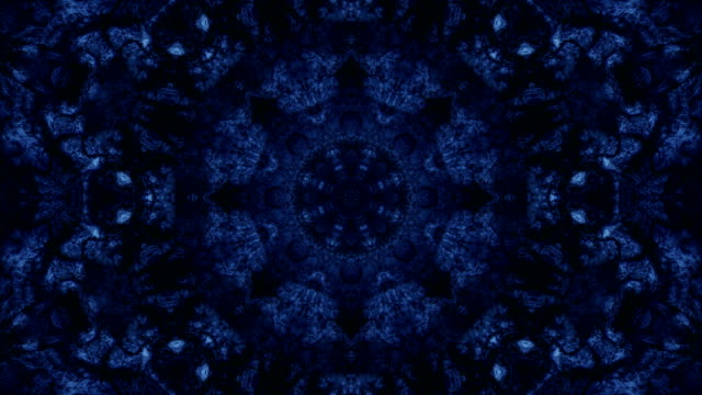 looped abstract neon ornate decorative background. 3d kaleidoscope or mandala. - мандала стоковые видео и кадры b-roll