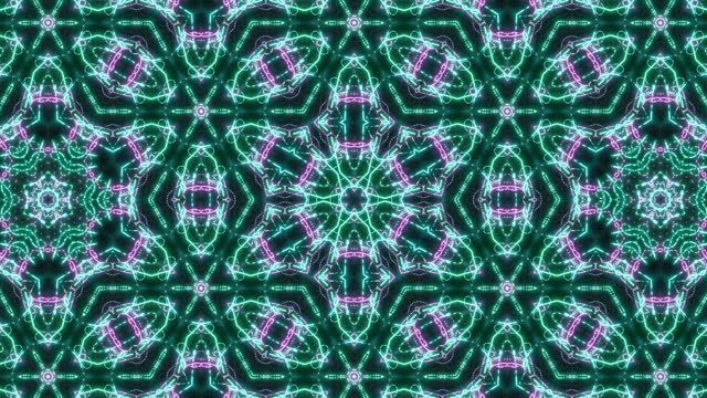 Looped abstract symmetrical background, 3d elements light up like bulbs with multicolor neon light. Bg for show or events, exhibitions, festivals or concerts, music videos, VJ loop for night clubs. video