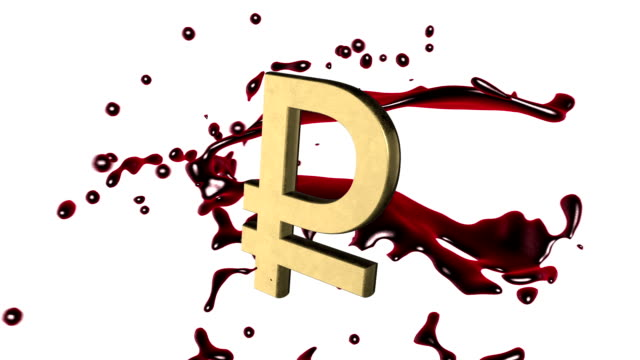 Looped animated background: 3d red-scarlet blood splash rotate around the symbol of  golden  ruble-rouble on the white background. 4k. Seamless loop. Alpha matte. video
