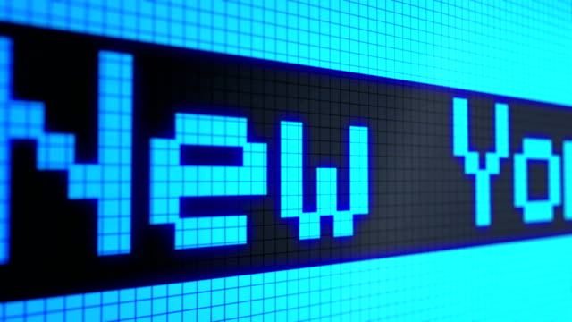 Looped animated background: running lines - ticker, text: 'London New York Singapore Hong Kong Tokyo Zurich'  light-blue color on black screen. Global Financial Centres. Pixels. 4k. Seamless loop. video