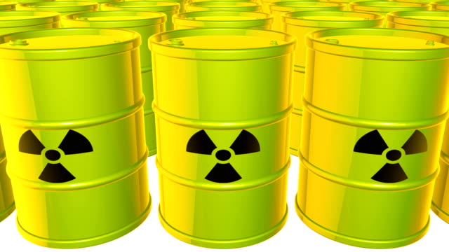 Looped animated background with acid-green-yellow barrels with  black sign of radiation. Radioactive material. Toxic waste. White background. 4k.  Seamless loop. video
