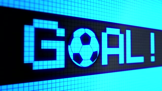 """vídeos de stock e filmes b-roll de looped animated background with running lines - ticker with text """"goal !!!"""" and rolling a soccer-football ball light-blue color on the black screen. pixels. seamless loop. - campeão soccer football azul"""