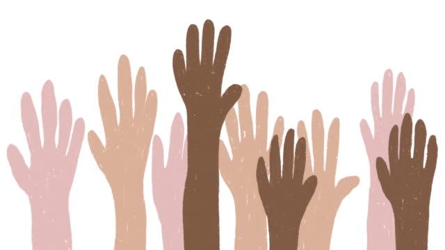 vídeos de stock e filmes b-roll de looped animation of hands raised up in the air. concept of racial diversity, inclusivity, voting, volunteering or celebrating - democracy illustration