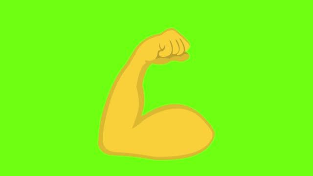 animazione digitale in loop di braccia che fletteno i muscoli del bicipite su uno sfondo verde crominanza - braccio video stock e b–roll