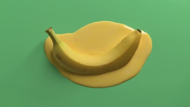 Video looped stop motion animation of melting banana