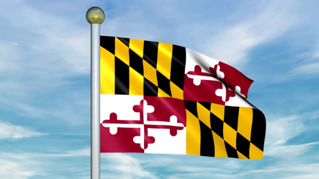 Looping Animated Flag of Maryland on a Pole video