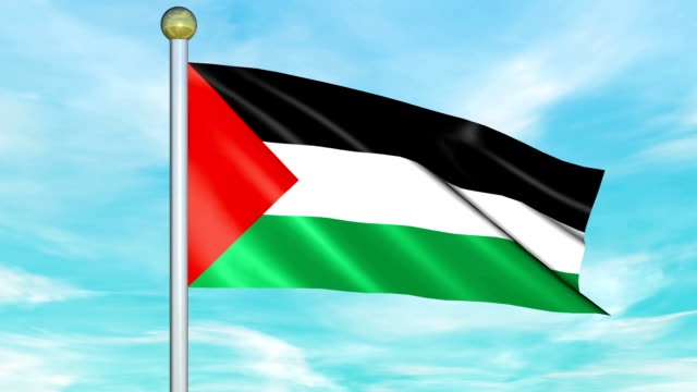 Looping Animated Flag of Palestine on a Pole video