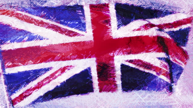 A looping, animated painted sketch of the Union Jack