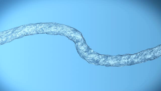 Looping animated pouring water is twisting on blue background (slow motion, full hd video