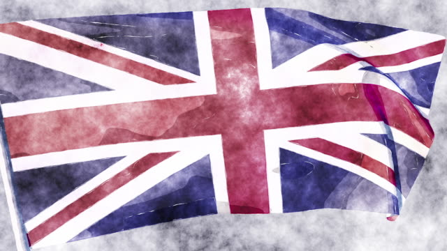 A looping, animated watercolour of the Union Jack