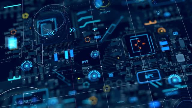 vídeos y material grabado en eventos de stock de 4k bucle la animación del circuito placa base abstracta - placa madre