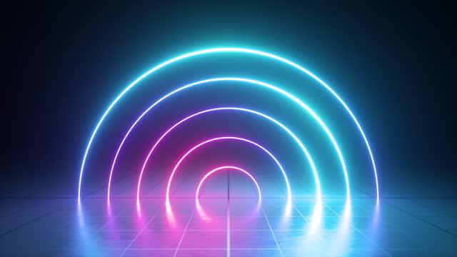 animazione in loop di linee rotonde al neon incandescenti, anelli che cambiano colore nello spettro ultravioletto dal rosa al blu - elemento del design video stock e b–roll