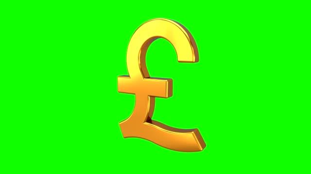 looping animation av golden pound sign roterande på vit bakgrund med grön skärm eller chroma key bakgrund. gbp. 3d-rendering - pound sterling isolated bildbanksvideor och videomaterial från bakom kulisserna