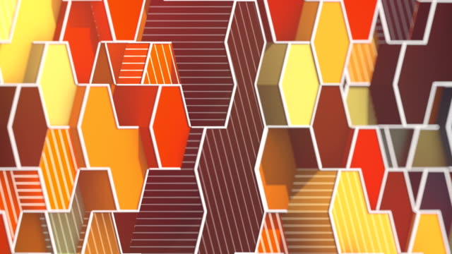 Looping animation of hexagonal honeycomb pattern. Modern orange colored forms with white wire on the edges. Motion graphics background. 3D rendering. HD resolution.