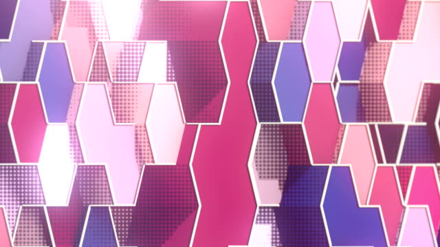 Looping animation of hexagonal honeycomb pattern. Modern pink colored forms with white wire on the edges. Motion graphics background. 3D rendering. HD resolution.