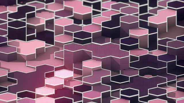 Looping animation of hexagonal honeycomb pattern. Modern violet colored forms with white wire on the edges. Motion graphics background. 3D rendering. 4K, Ultra HD resolution.