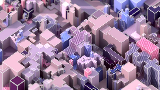 Looping animation of industrial pattern like a futuristic city. Modern color forms with white wire on the edges. Motion graphics background. 3D rendering. 4K, Ultra HD resolution.