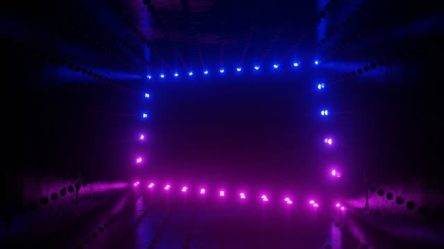 Looping animation of neon lamps in a dark tunnel. Endless movement. LED panels for music scenes