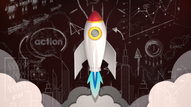 Looping Animation of Rocket Flying Through a Business Plan