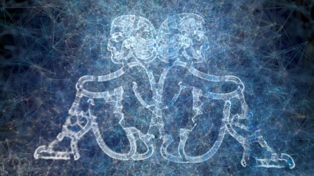 vídeos de stock e filmes b-roll de a looping animation of the horoscope star sign gemini - astrologia
