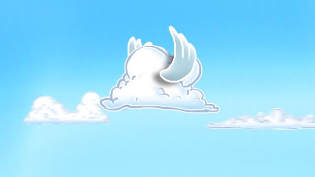 ripetizione ciclica fumetto cloud con battere le ali di uccello ala - battere le ali video stock e b–roll